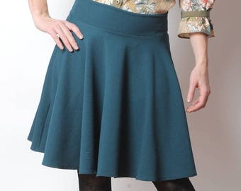 Short teal blue skirt, Flared jersey skirts, Teal green short stretchy skirt, Womens clothing, MALAM