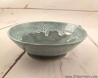 Serving Bowl - Handmade Ceramic - Stoneware Salad Server - Fruit Bowl - Bridal Shower Gift - Blue Green / Frothy Rim - Ready to Ship  b385