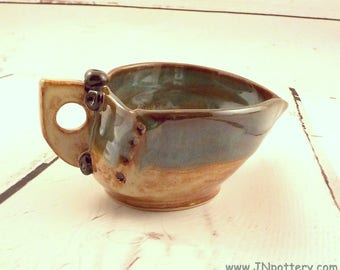 Ceramic Sauce Bowl - Gravy Boat - Stoneware Pouring Bowl - Spouted Dish - Syrup Pitcher - Shino Brown and Sea Green - Ready to Ship  s529