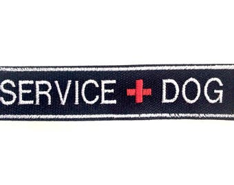 "Velcro Service Dog Patch - 1"" x 5"" embroidered SERVICE DOG patch with velcro on back"