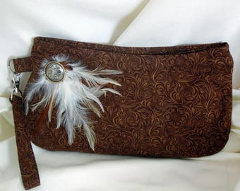 Brown Cotton Tooled Leather Coraline Wristlet/Clutch, Western Themed Clutch Wristlet, Tooled Leather Look Clutch Wristlet, Everyday Wristlet