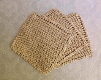 Natural Cotton Dishcloth Trio