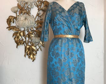 1950s dress silk dress wiggle dress brocade dress 28 waist vintage dress blue dress wateau dress