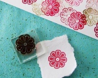 Xmas in July Small Flower Rubber Stamp 040