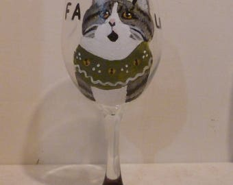 """Meowy Christmas Gray Tabby Cat Wine Glass """"Tabitha the Caroler"""" Pet Lovers Boutique Hand Painted"""
