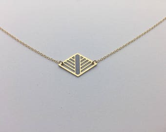 Grey and Gold Geometric Laser Cut Diamond Necklace Delicate Minimal Jewelry