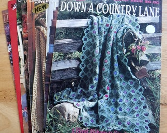 Lot of 8 afghan pattern books, crochet blanket patterns, Mile a Minute afghan patterns, lacy afghans, vintage Leisure Arts booklets