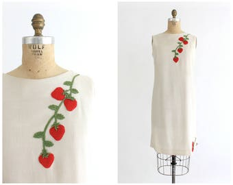 vintage 1960s strawberry shift dress | 60s Sonni dress with embroidered fruit detail | vtg shift dress | small