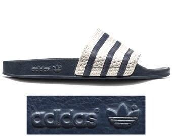 80s ADIDAS Slide Soccer Sandals Sport Slides Navy Blue White Three Stripe Slip On MULES Summer Beach Shoes Us Men 9, Uk 8.5, Eur 43