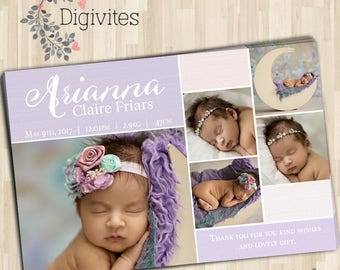 Photo Birth Announcement/Girl Baby Announcement/Printable Photo Birth Announcement/Print yourself/Purple Announcement/Baby Girl