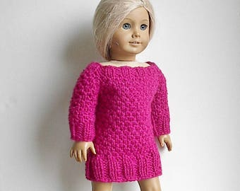 """18"""" Doll Knit Dress Tunic Long Sweater Handmade to fit American Girl and Similar Dolls - Doll Clothes Raspberry Pink Fuschia Tunic Dress"""