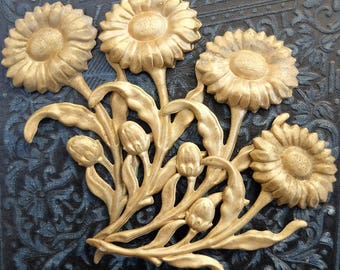 4 Vintage Brass Stampings Flowers Large 3""