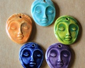 5 Handmade Ceramic Pendants - Face Beads - Meditation Goddess Focal Pendants for Yoga Jewelry, malas and meditation Supplies