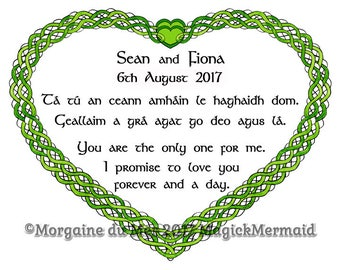 Celtic Knotwork Heart Custom Wedding Vows Print Personalized Handfasting Anniversary Renew Marriage Wall Art