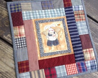 Mini quilt Primitive decor wall hanging patchwork rabbit hand quilted burgandy blues
