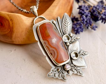 Unique Botanical Necklace, Detailed Nature Inspired Metalwork, Indonesian Agate Pendant, Metalsmithed Jewelry