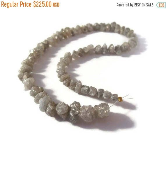 Summer SALEabration - Diamond Nugget Beads, Rough Gray Diamonds, Raw Diamond Nuggets, 4x4mm - 9x7mm, Jewelry Supplies, 9 Inch Strand of 63 S