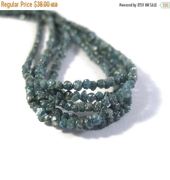 Summer SALEabration - Teal Blue Rough Diamond Chips, 4 Inches of Raw Diamond Beads, 2mm - 2.5mm Diamond Beads, Drilled Bead, Jewelry Supplie