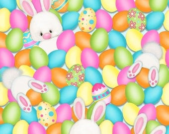 Hop to It by Henry Glass Fabrics, Eggs and Bunnies, yard