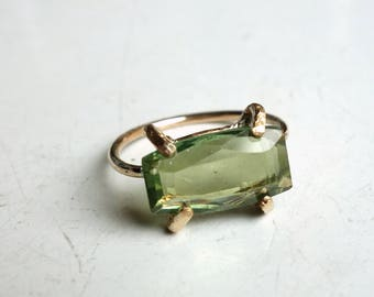 14k Gold Fill Peridot Ring - Green and Gold