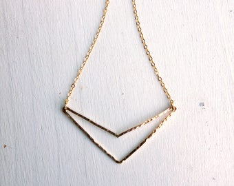 14k Goldfilled Hammered Open Chevron Necklace