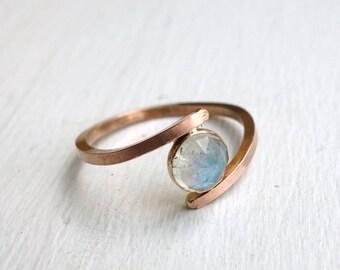Rose Cut Labradorite Overlap Ring in 14k Rose Gold-Filled Setting Handmade  Bypass Ring