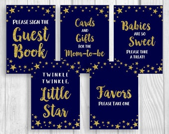 Twinkle Twinkle Little Star Printable 5x7 Baby Shower Sign Package - Midnight Blue Gold Glitter - Gender Neutral - Instant Download