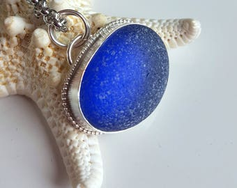 Sea Glass Jewelry Cobalt Blue Sea Glass Necklace Sterling Silver Necklace Pendant - N-543