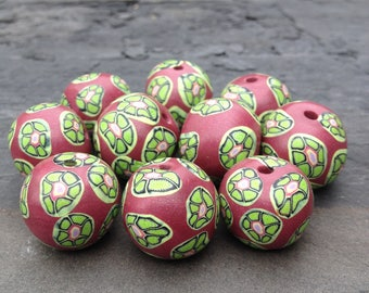 Set of Dark Rose Colored Beads With Green Floral Pattern Round Shaped Beads Handmade Polymer Clay Artisan Jewelry Supplies