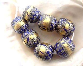 7 Golden Lapis Blue Beads Handmade Lampwork