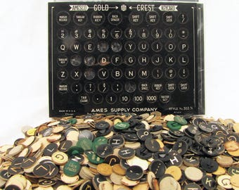 Big Lot of Vintage Typewriter Key Inserts for Repairs, Jewelry Making or Altered Art