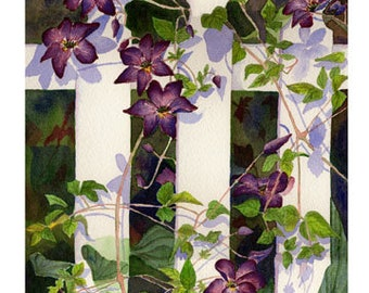"5x7 Floral Greeting Card ""Clematis Watercolor"""
