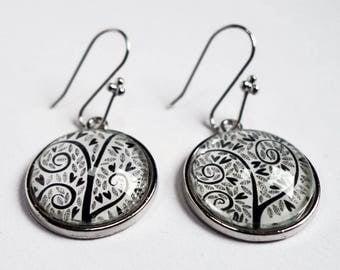 Earrings, black hearts BO315A