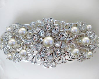 Sale Wedding Hair Clip,Pearl Hair Piece, Crystal head piece, silver brooch comb, rhinestone barrette, Ivory Pearl,Bridal Hair comb, Tea Rose