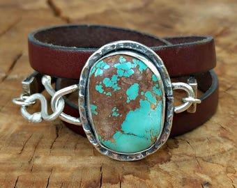 Turquoise Bracelet,wrap bracelet,  American Turquoise Cuff Bracelet,  leather and turquoise stone bracelet