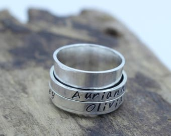 Personalized Sterling Silver Spinner Ring - Fiddle Ring - Name Ring