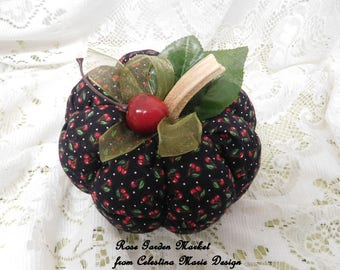 Small,Cherry Fabric Pumpkin Home Decor, Hand Sewn and Created with Real Pumpkin Stems, Fall Decor, Autumn Home Accent, ECS