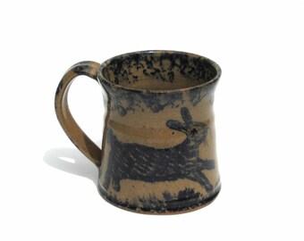 Vintage Stoneware Mug Rabbit Signed Becky Mummert E. Berlin PA Dated 1995 Handmade Pottery 8 ounce Coffee Mug Primitive Folk Art Ceramic Mug