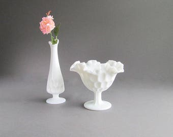 Vintage Milk Glass Compote, Milk Glass Thumbprint Vase, Wedding Decorations, Candy Dish, Thumbprint Bowl, Set of 2