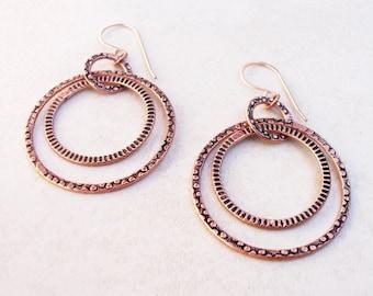 14K Rose Gold Filled - Copper - Hoop - Earrings / Free US Shipping