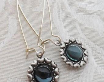 50% Off Clearance Sale, Dark Blue, Denim, Navy, Vintage Glass Earrings