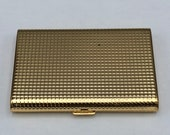 Vtg Gold Tone Compact Rectangular Swiss Made Bevelled Mirror