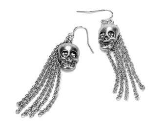 Steampunk Jewelry Steam Punk Earrings Gothic Skull Dangle Silver TASSEL, SKULL Earrings, PuNK Harley Biker Rocker Great Gift - by edmdesigns