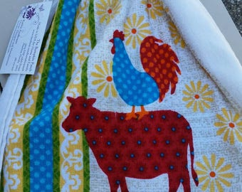 Crocheted Top Kitchen Towel - Farm