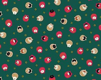 Quilt Gate Hyakka Ryoran CONEKO Daruma little cats cotton fabric HR3220-11C green