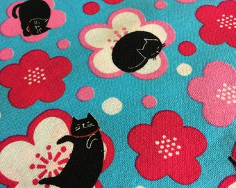 Cosmo Black Cats and Blossoms in pink and blue AP71404-2C