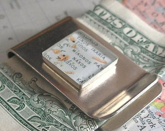 SUMMER SALE Made to Order Vintage Map Money Clip - Square