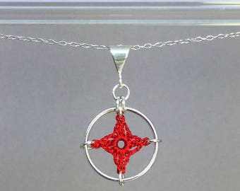 Spangles, red silk necklace, sterling silver