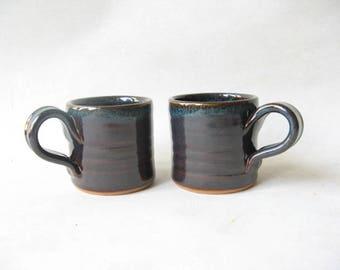 Espresso Cups Set of 2, Demitasse Set of 2, Pottery Espresso Cups