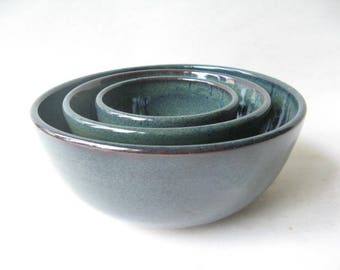 Stoneware Nesting Bowls, Set of 3 Bowls, Pottery Serving Bowls